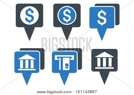 Bank Map Pointers glyph icons. Icon style is bicolor smooth blue flat symbols with rounded angles on a white background.