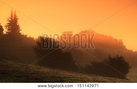 Beautiful mystical landscape in yellow orange and red colors at sunrise