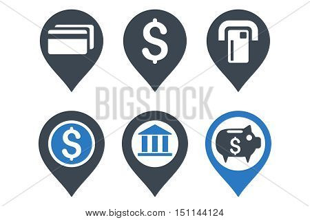 Banking Map Pointer glyph icons. Icon style is bicolor smooth blue flat symbols with rounded angles on a white background.