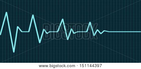 Heart beat line end of life, ecg sign