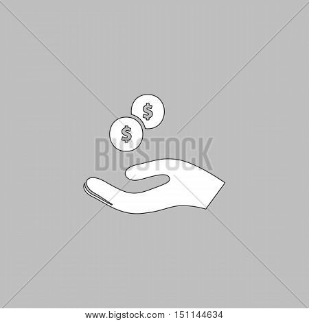 beggar Simple line vector button. Thin line illustration icon. White outline symbol on grey background