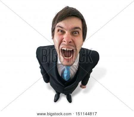 Young Funny Crazy Businessman Or Boss Is Shouting. Isolated On W