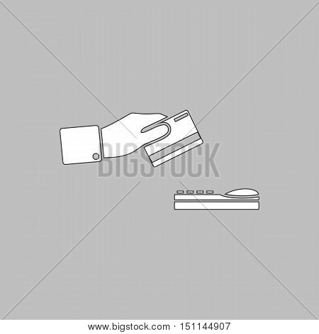 payment Simple line vector button. Thin line illustration icon. White outline symbol on grey background