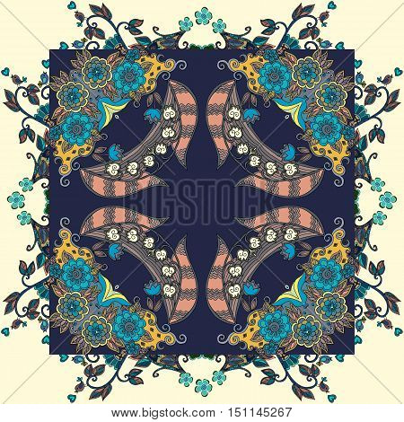 Decorative floral ornament with roses and lily of the valley. Bandana print or kerchief design. Lovely tablecloth. Vector illustration.