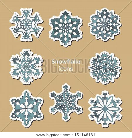 Set of eight stylized snowflake icons. Christmas collection. Vector illustration