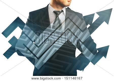 Businessman in suit and abstract chart arrows on maze background. Double exposure. Business challenge concept