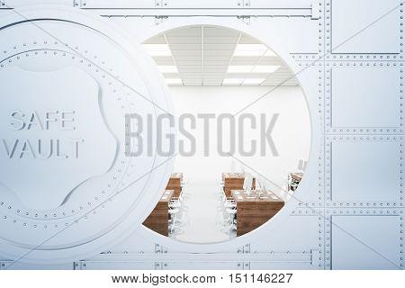 Office inside bank vault behind open door. 3D Rendering