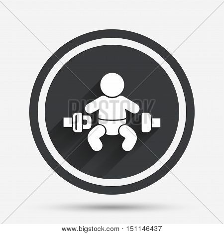 Fasten seat belt sign icon. Child safety in accident. Circle flat button with shadow and border. Vector