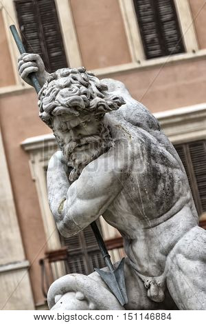 Detail of the statue of Neptune in Piazza Navona in Rome