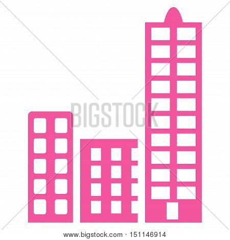 City icon. Glyph style is flat iconic symbol with rounded angles pink color white background.