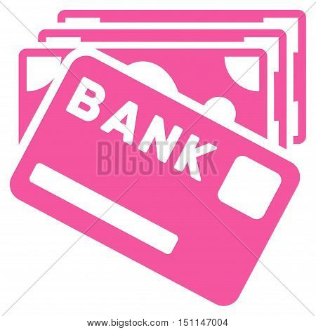 Credit Money icon. Glyph style is flat iconic symbol with rounded angles pink color white background.