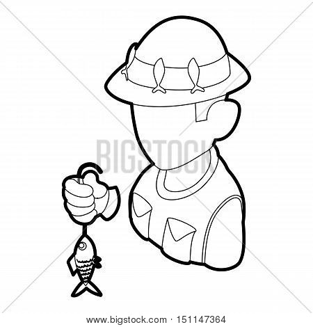 Fisherman icon. Outline illustration of fisherman vector icon for web