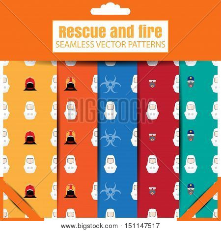 Vector set of seamless patterns of Rescue and biohazard in the package.