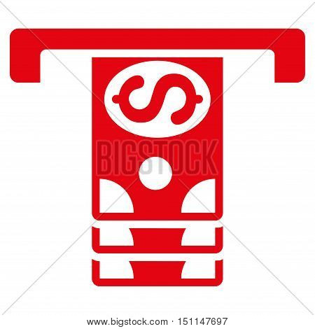 Banknotes Withdraw icon. Glyph style is flat iconic symbol with rounded angles, red color, white background.