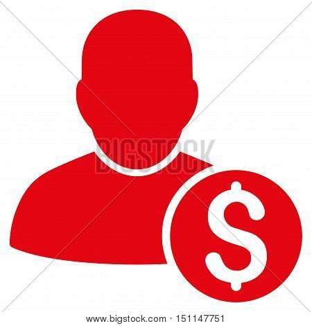 Businessman icon. Glyph style is flat iconic symbol with rounded angles, red color, white background.