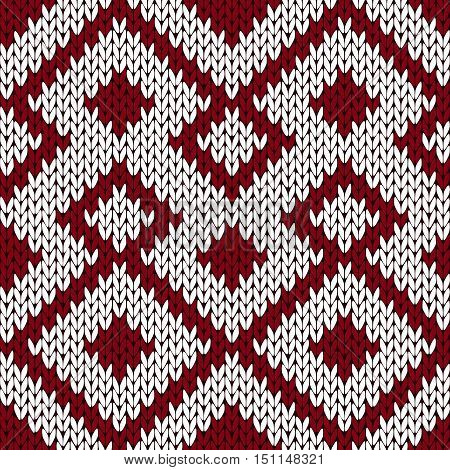 Knitting Ornate Seamless Pattern In Muted Dark Red And White Colors