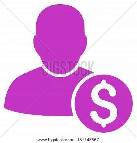 Businessman icon. Glyph style is flat iconic symbol with rounded angles violet color white background.