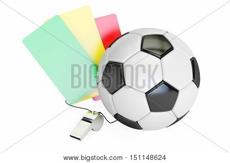 Football concept with green red yellow card and whistle. 3D rendering isolated on white background