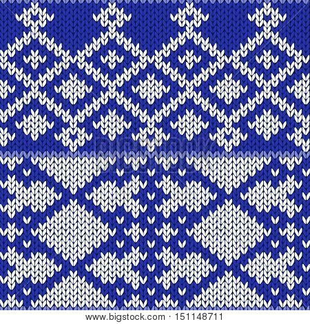 Knitting Ornate Seamless Pattern In Light Blue And White Colors