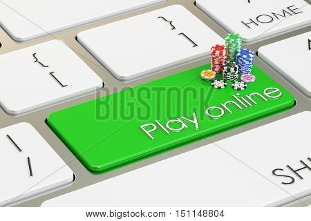 Play online on keyboard button 3D rendering