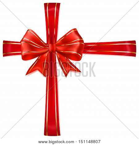 Red Bow With Crosswise Ribbons With Golden Strips