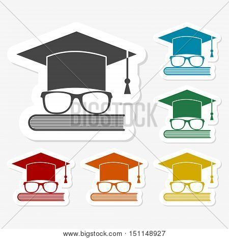 Education icon, Vector hat, glasses and book sticker set