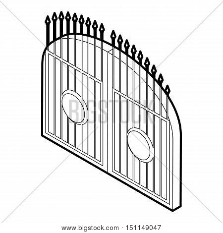 Gate icon. Outline illustration of gate vector icon for web