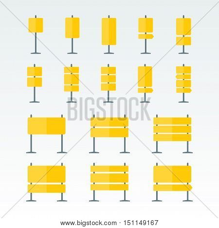 Set of 16 road boards and pointers flat icons. Yellow signpost on pillar collection. Blank template for navigational or guide text. EPS8 clean vector illustration.