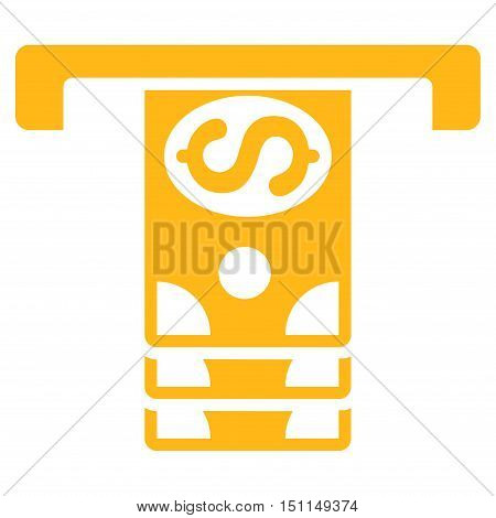 Banknotes Withdraw icon. Glyph style is flat iconic symbol with rounded angles, yellow color, white background.