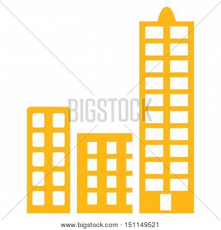 City icon. Glyph style is flat iconic symbol with rounded angles, yellow color, white background.