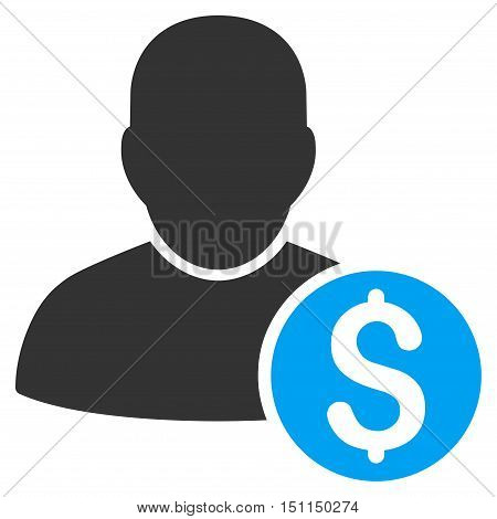 Businessman icon. Glyph style is bicolor flat iconic symbol with rounded angles, blue and gray colors, white background.