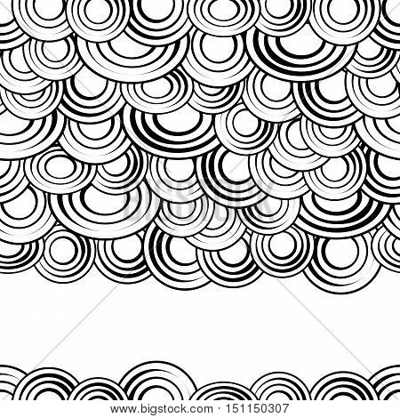 Black and white circles seamless pattern, vector background.Monochrome abstract clouds with gaps, creative and stylish simple backdrop for sites, cards or textiles.