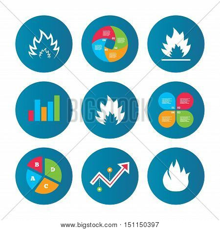 Business pie chart. Growth curve. Presentation buttons. Fire flame icons. Heat symbols. Inflammable signs. Data analysis. Vector