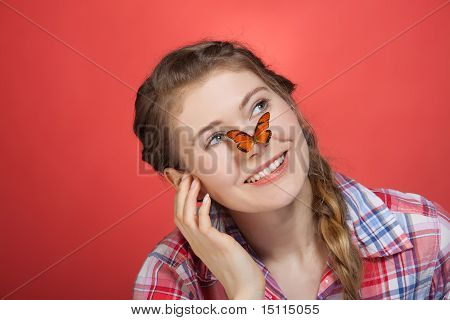 Young Woman And Butterfly