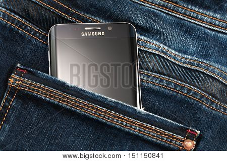 Varna Bulgaria - October 04 2016: Studio shot of a black Samsung Galaxy S6 Edge+ smartphone with 16 MP f 1.9 28mm Camera quad-core 21 GHz and 1440 x 2560 pixels Display Resolution