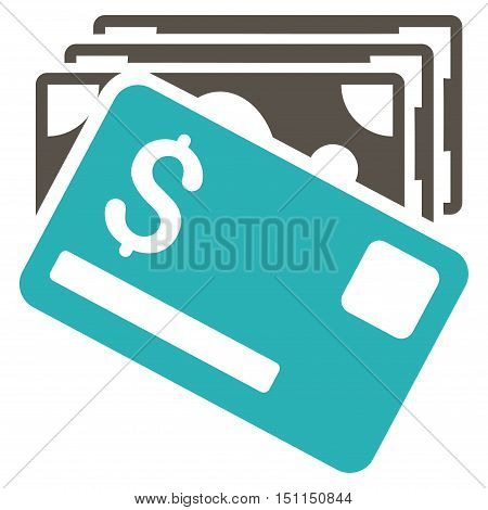 Banknotes and Card icon. Glyph style is bicolor flat iconic symbol with rounded angles, grey and cyan colors, white background.
