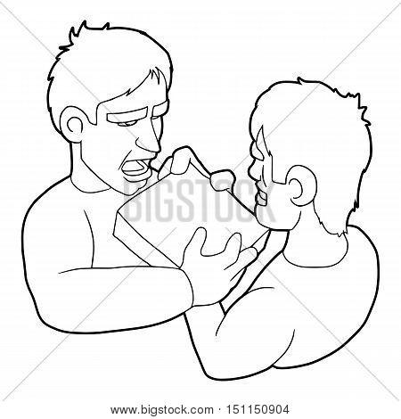 Two aggressive men fighting for box icon. Outline illustration of two aggressive men fighting for box vector icon for web