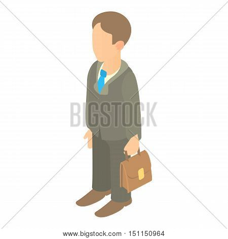Businessman holding briefcase icon. Cartoon illustration of businessman and briefcase vector icon for web