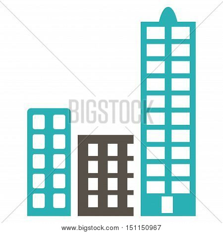 City icon. Glyph style is bicolor flat iconic symbol with rounded angles, grey and cyan colors, white background.