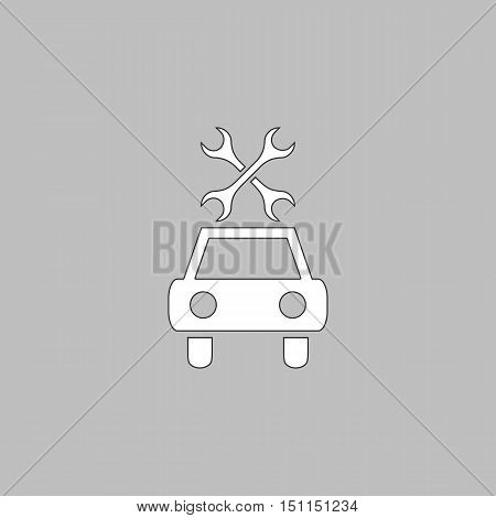Car service Simple line vector button. Thin line illustration icon. White outline symbol on grey background