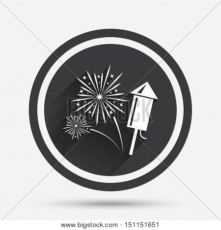 Fireworks with rocket sign icon. Explosive pyrotechnic symbol. Circle flat button with shadow and border. Vector