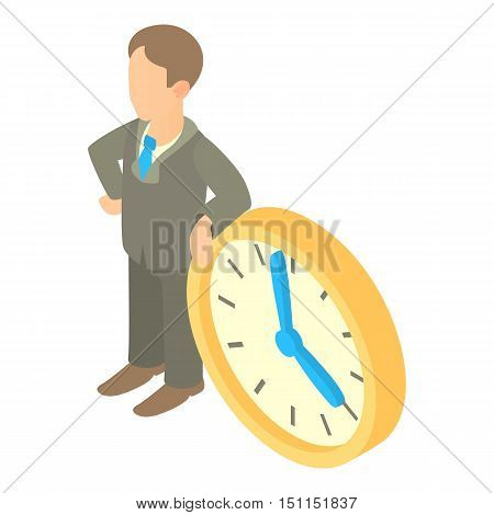 Businessman and clock showing 4 clock icon. Cartoon illustration of businessman and clock vector icon for web