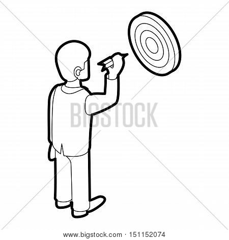 Businessman aiming at target icon. Outline illustration of businessman and target vector icon for web