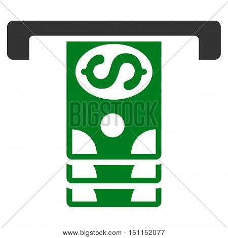 Banknotes Withdraw icon. Glyph style is bicolor flat iconic symbol with rounded angles, green and gray colors, white background.