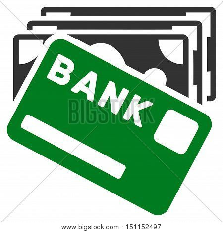 Credit Money icon. Glyph style is bicolor flat iconic symbol with rounded angles, green and gray colors, white background.