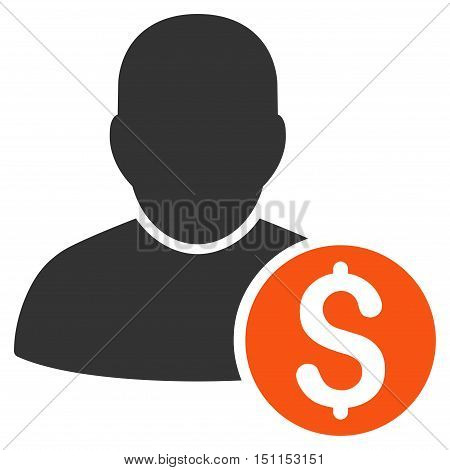 Businessman icon. Glyph style is bicolor flat iconic symbol with rounded angles orange and gray colors white background.