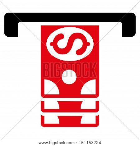 Banknotes Withdraw icon. Glyph style is bicolor flat iconic symbol with rounded angles, intensive red and black colors, white background.