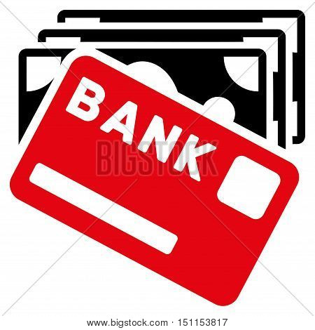 Credit Money icon. Glyph style is bicolor flat iconic symbol with rounded angles, intensive red and black colors, white background.