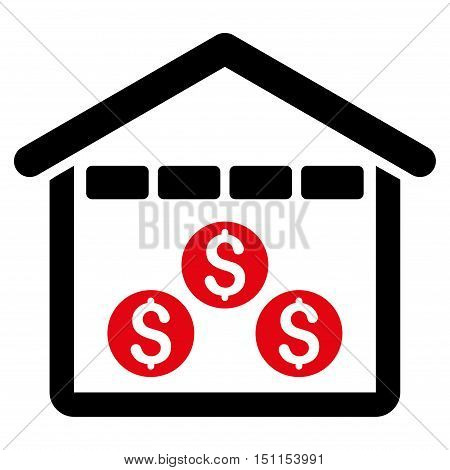 Money Depository icon. Glyph style is bicolor flat iconic symbol with rounded angles, intensive red and black colors, white background.