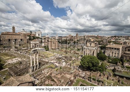 Rome Italy - May 1 2016: The ruins of the ancient Roman civilization at the Roman Forum.